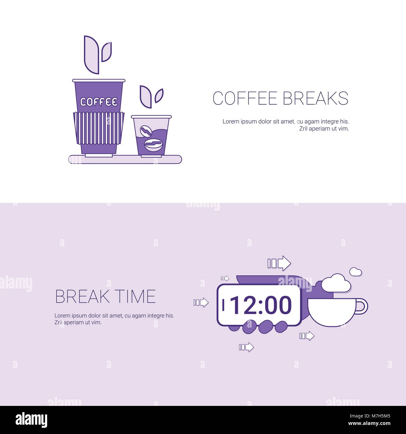 Coffee Breaks And Time For Rest Template Web Banner With Copy Space - Stock Vector