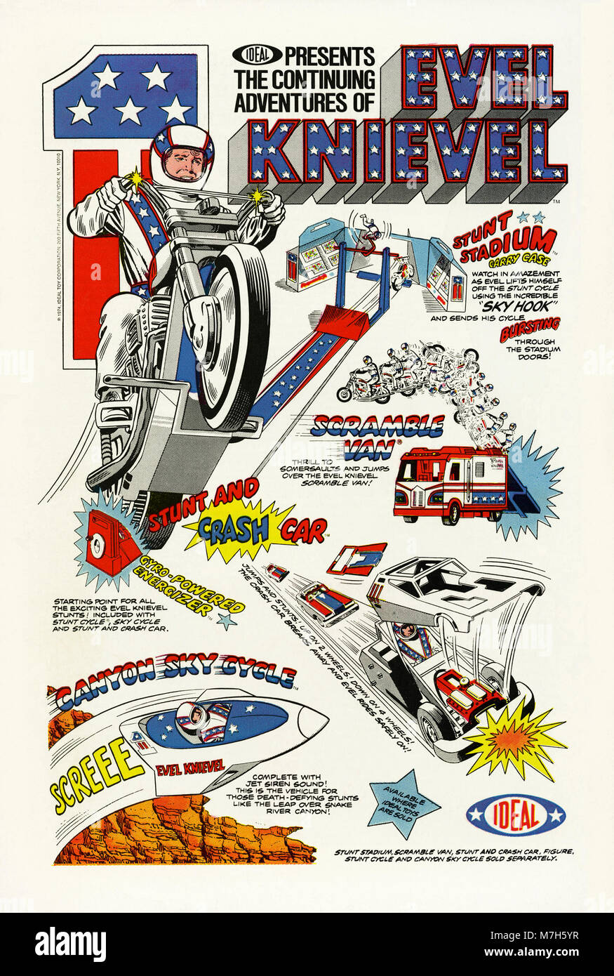 A 1974 USA advert for mechandising and toys based on the exploits of stuntman and daredevil Evel Knievel from Ideal - Stock Image
