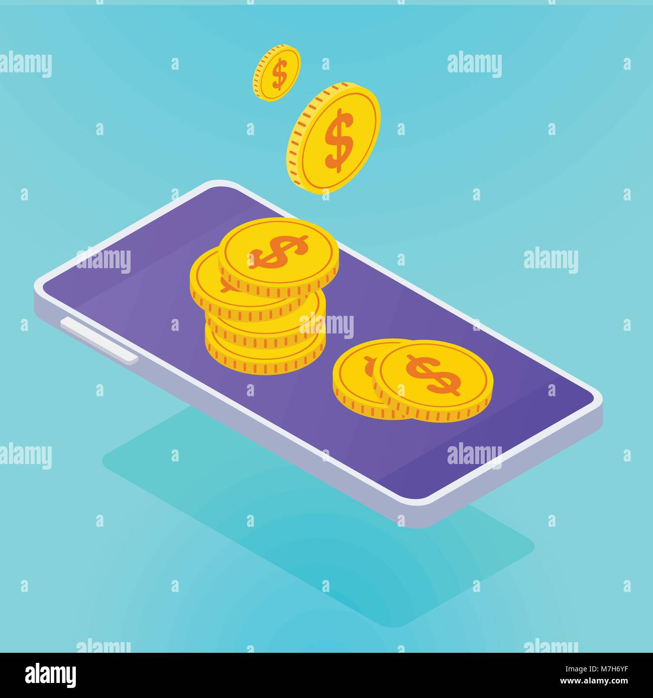 isometric smartphone with coins - Stock Image