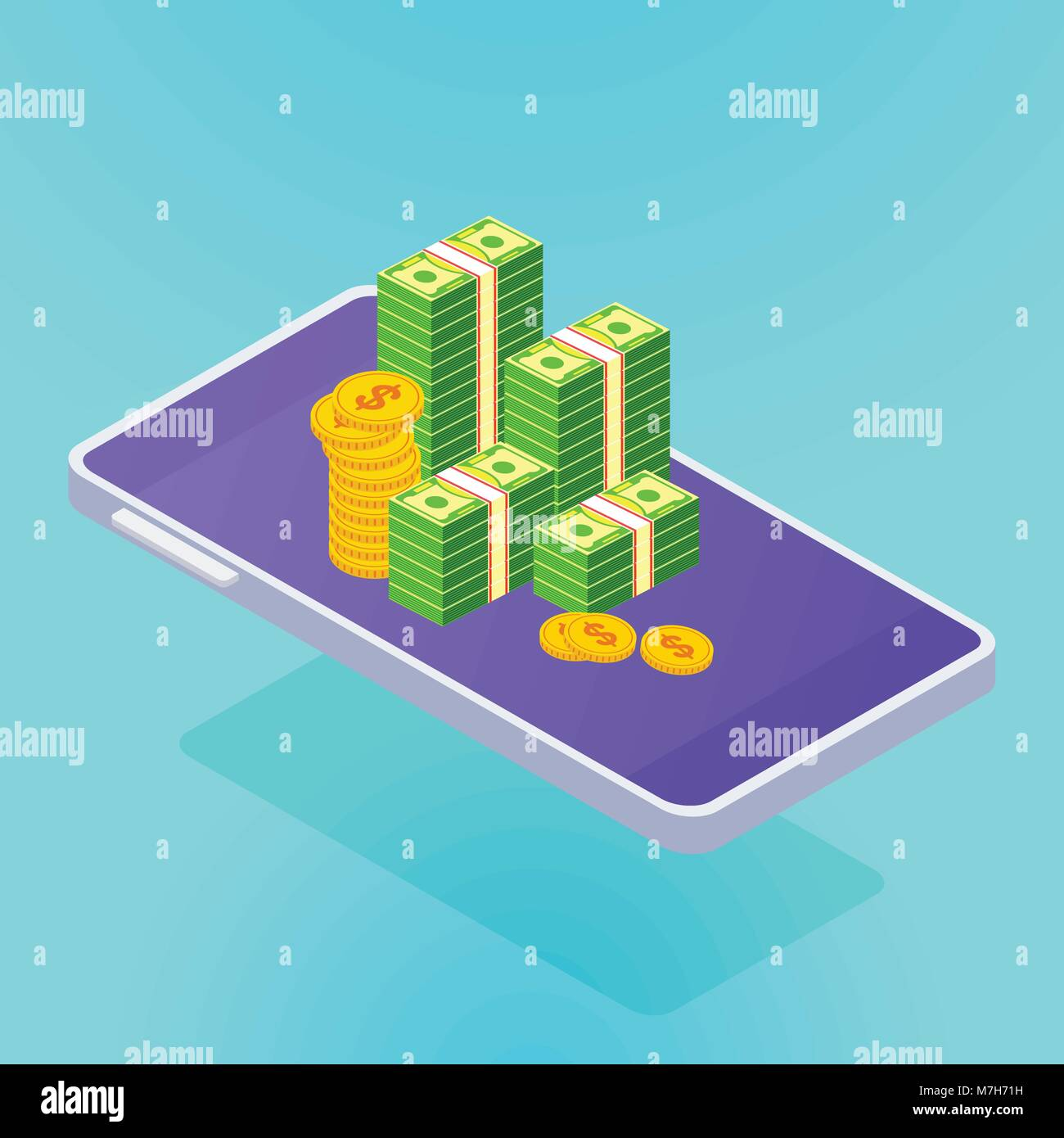 isometric smartphone with money - Stock Image