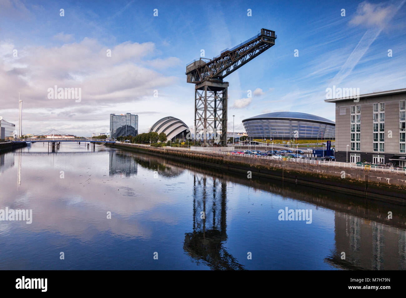 Clyde Waterfront Regeneration, with the Glasgow Tower, the Crowne Plaza Hotel, the SECC, the SSE Hydro and the Finnieston - Stock Image