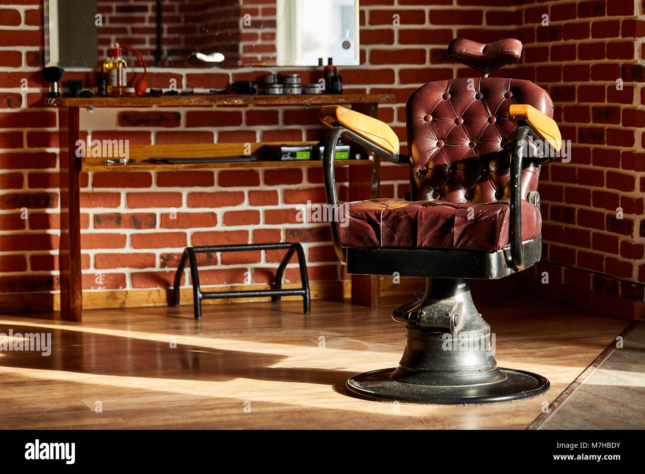 Barber Shop, Hairdresser Chairs Made From Brown Leather. Retro Leather Chair  Barber Shop In Vintage Style. Vintage Equipment. Male Beauty And Care. Gr