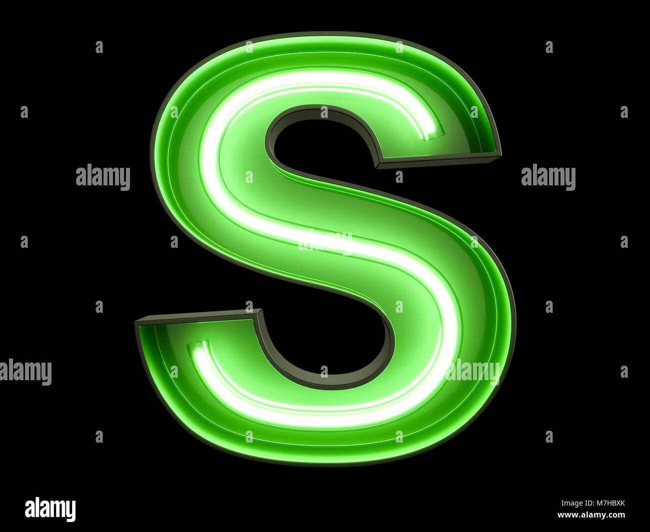 Neon green light alphabet character S font  Neon tube