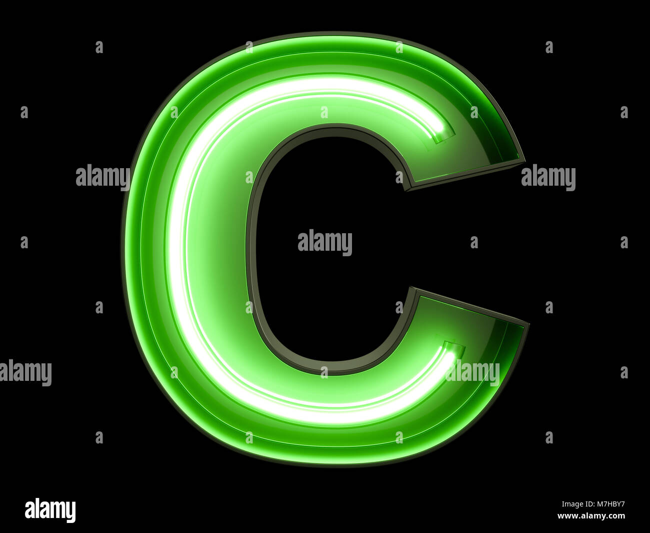neon green light alphabet character c font neon tube letters glow effect on black background 3d rendering