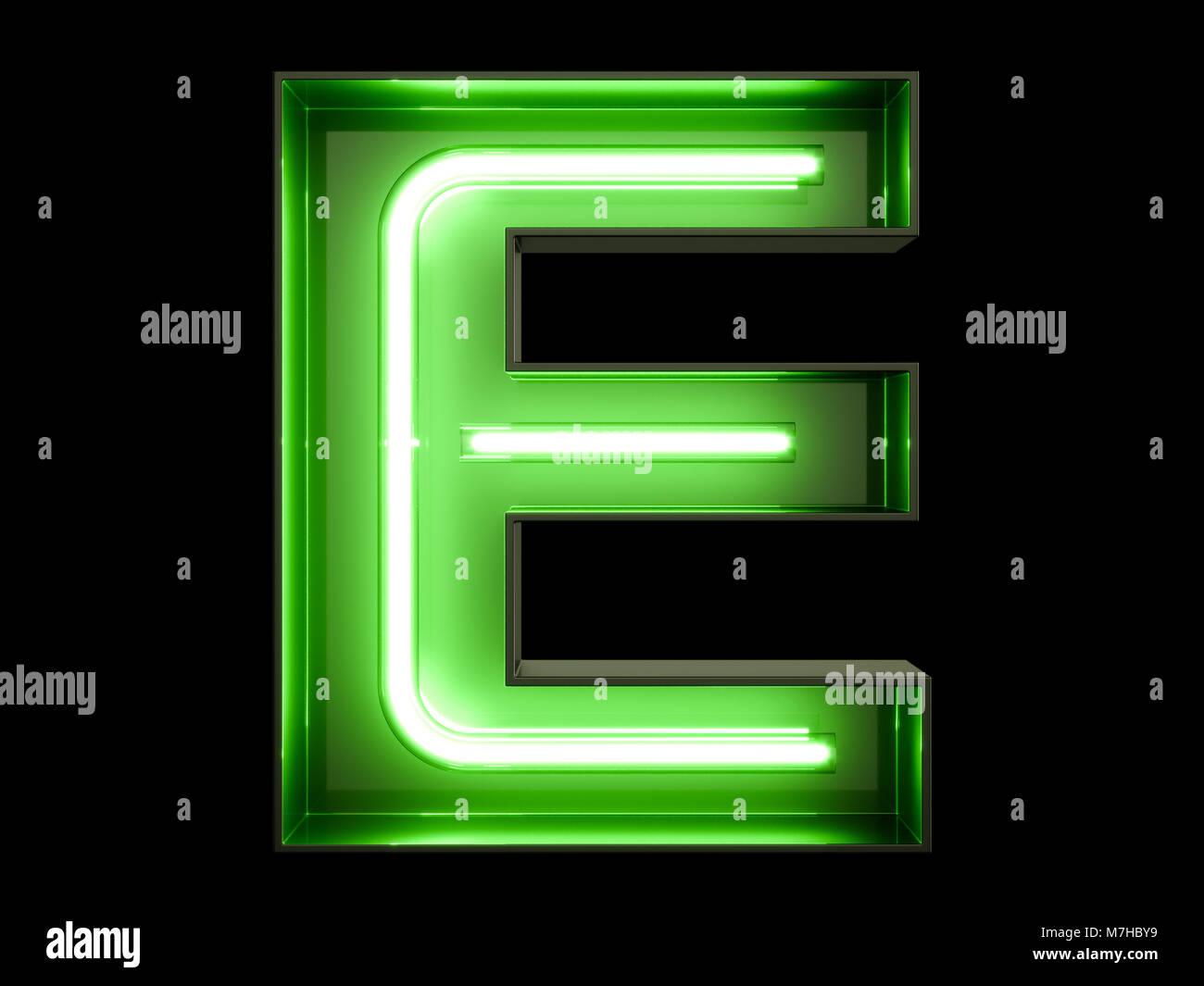 Neon Green Light Alphabet Character E Font Neon Tube Letters Glow