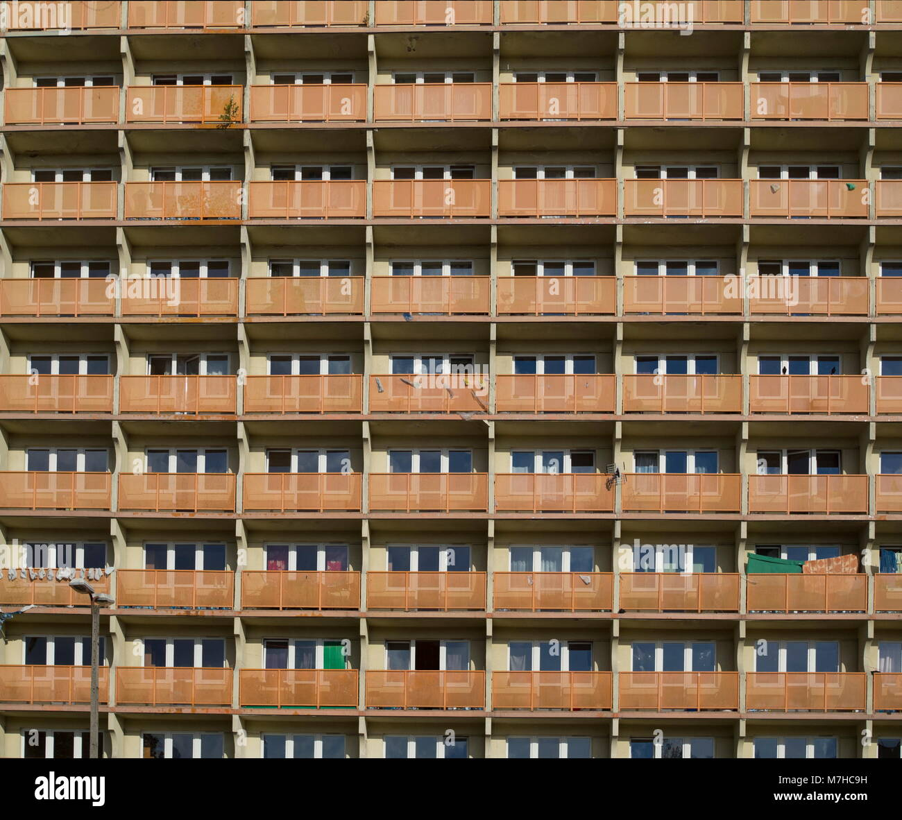 Student life. This building for university students. Huge building included many little flats. - Stock Image