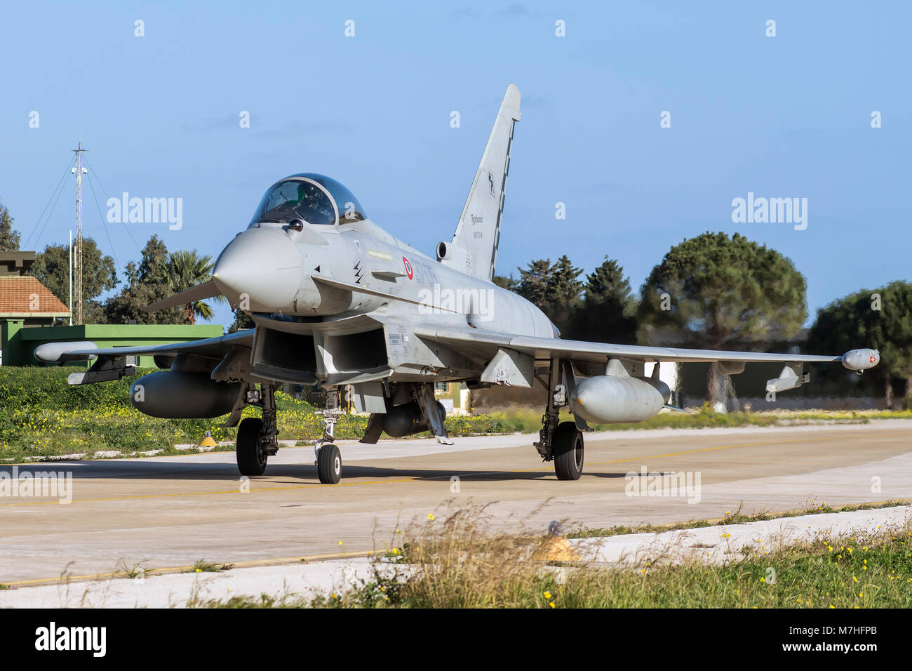 Italian Air Force F-2000A Typhoon taxiing at Trapani Air Base, Italy. Stock Photo