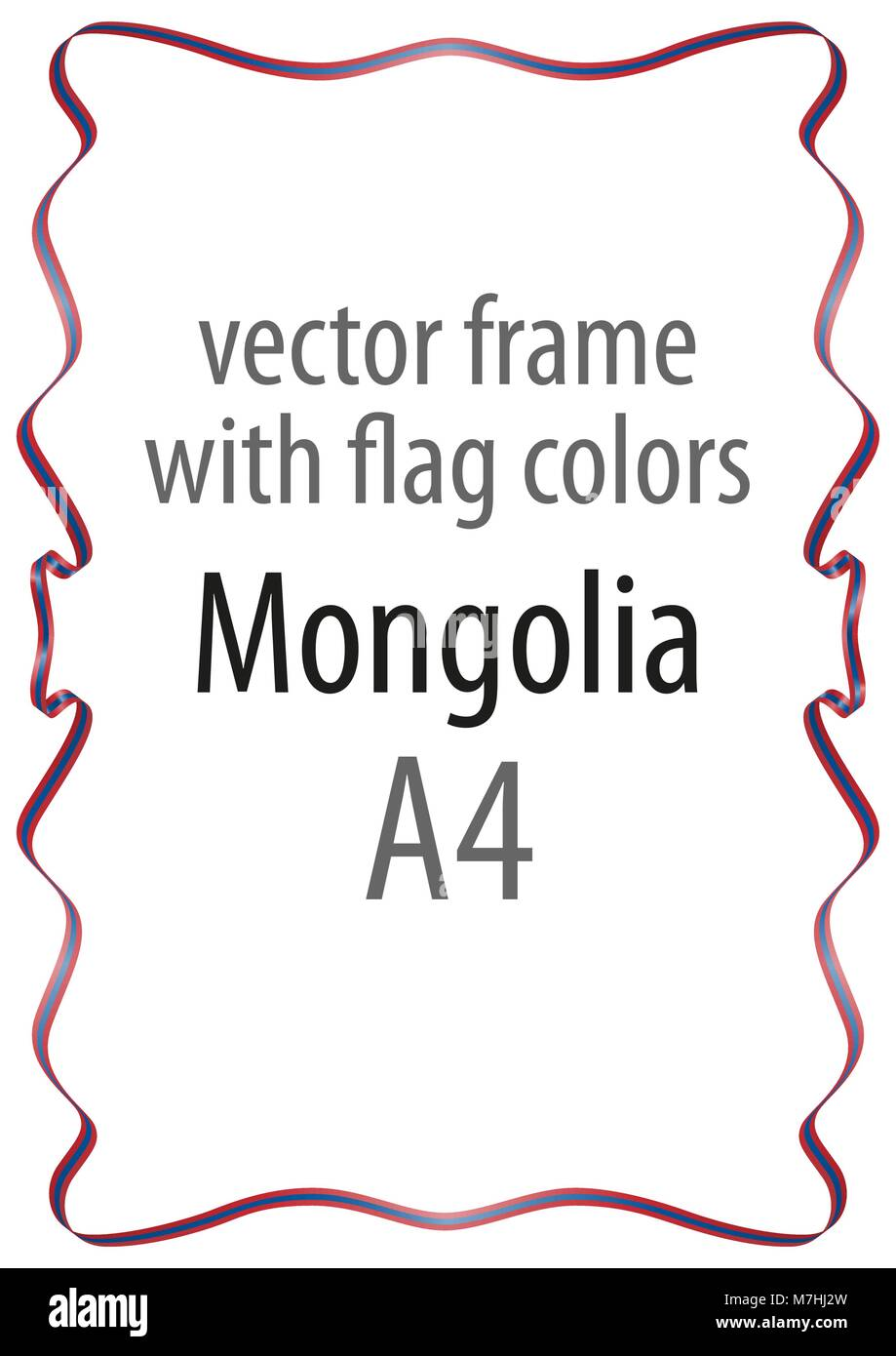 Frame and border of ribbon with the colors of the Mongolia flag - Stock Vector