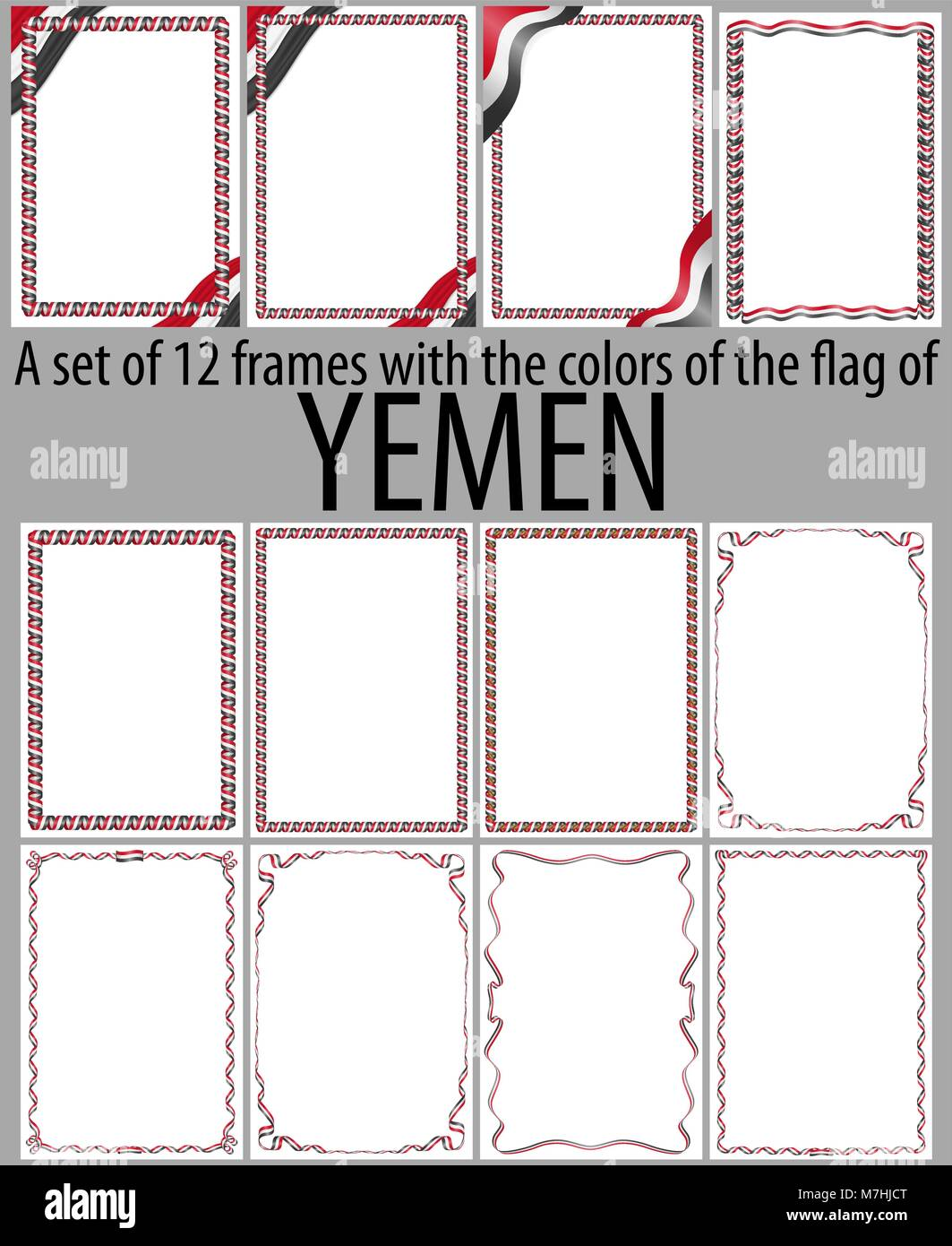 Set of 12 frames with the colors of the flag of Yemen - Stock Vector