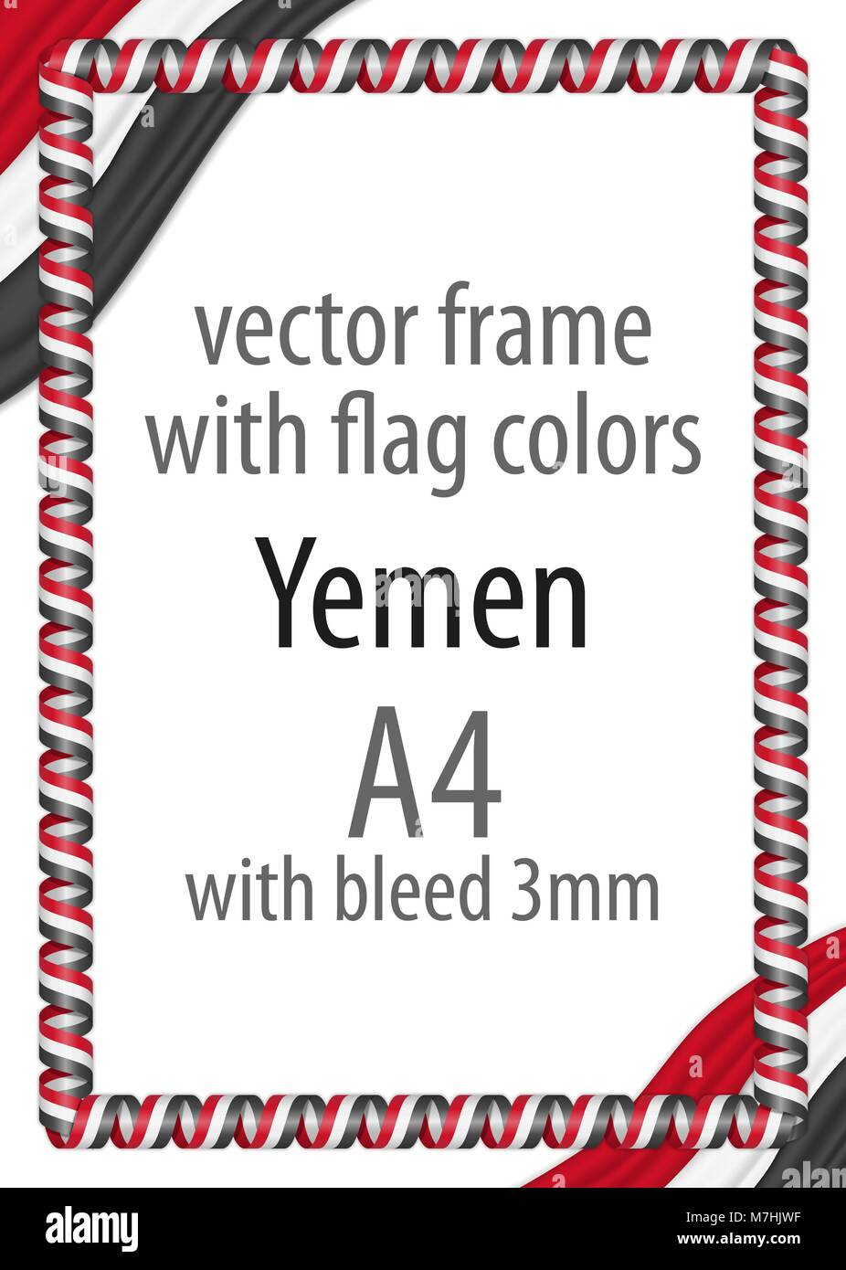 Frame and border of ribbon with the colors of the Yemen flag - Stock Vector