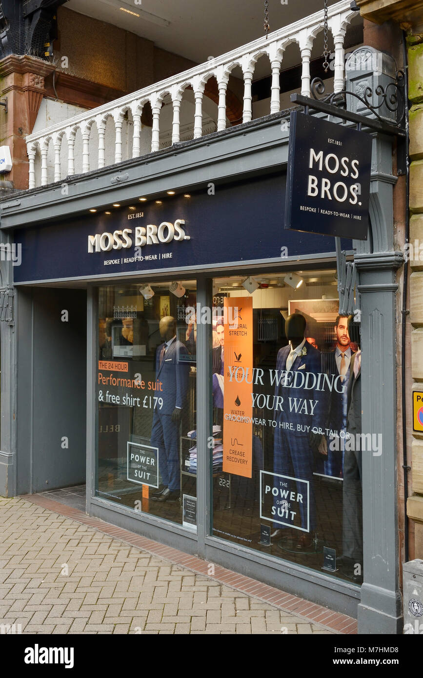 Moss Bros shop front in Chester city centre UK - Stock Image
