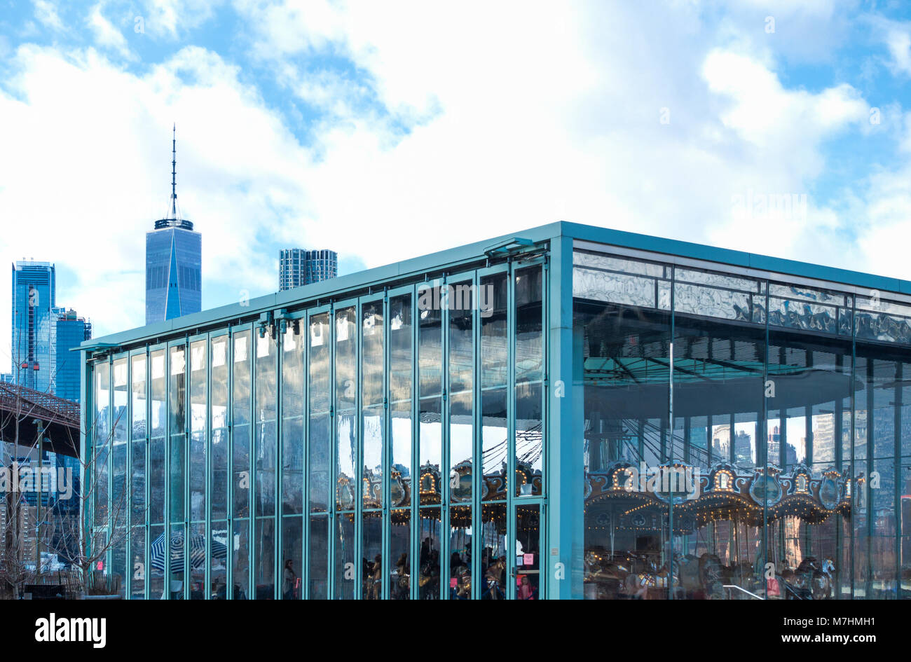 Jane's Carousel near the East River in Dumbo, Brooklyn in New York City - Stock Image