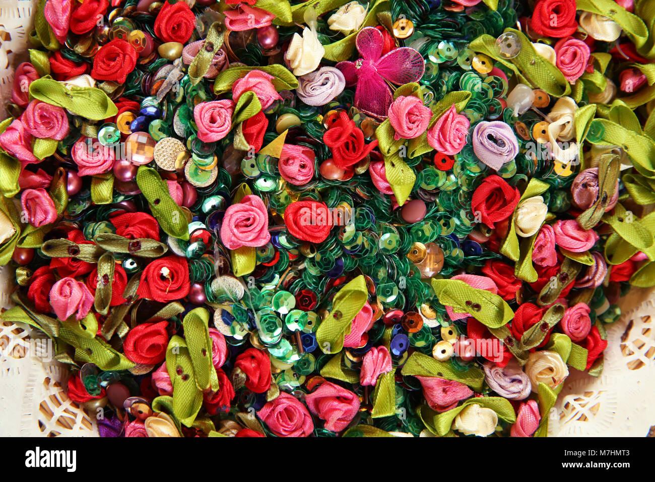 Artificial multicolored flowers . Beautiful multicolored artificial ...