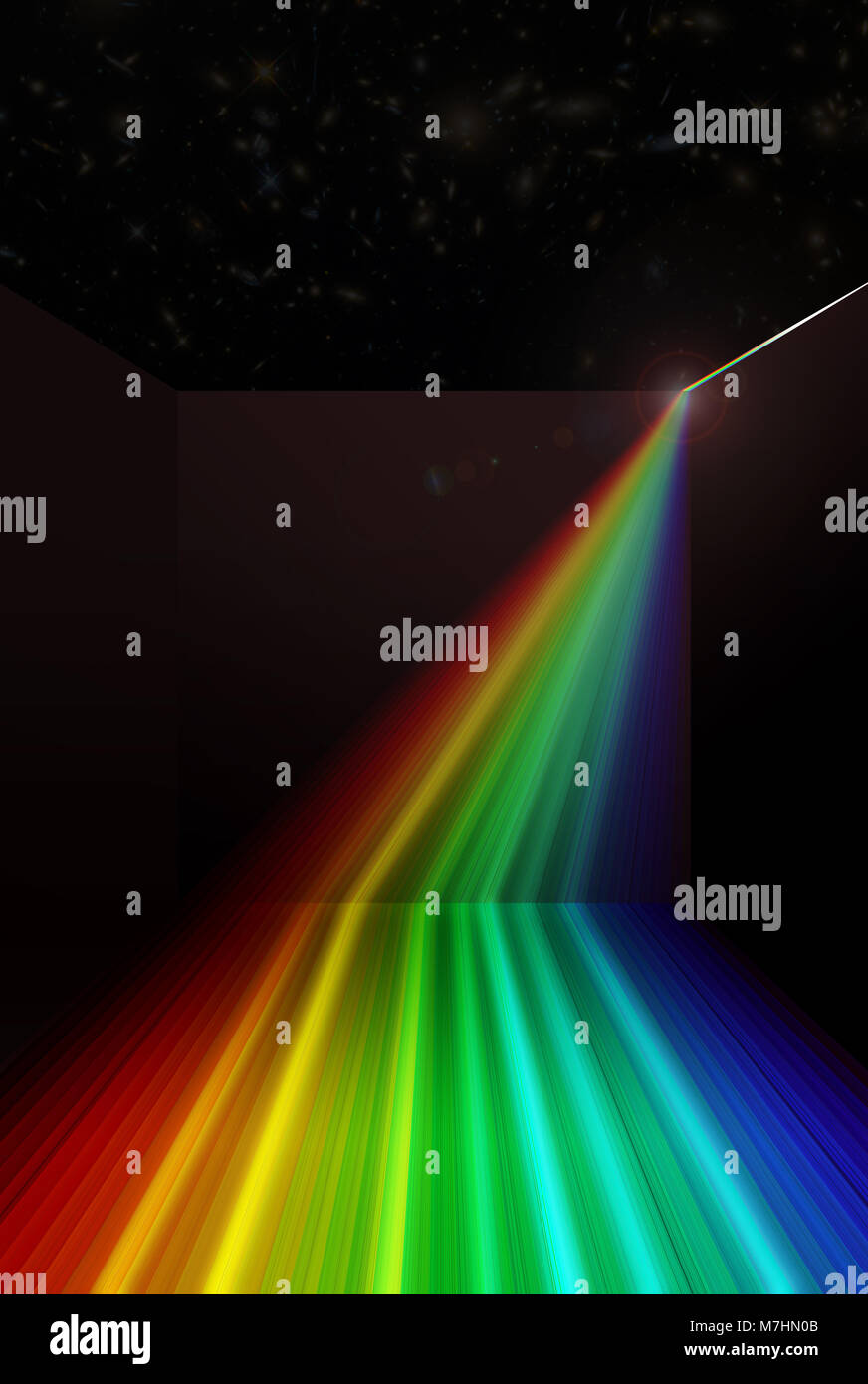 Spectral output from split sun bouncing about on dimensions of an enclosure considering the concept of time, beginning - Stock Image