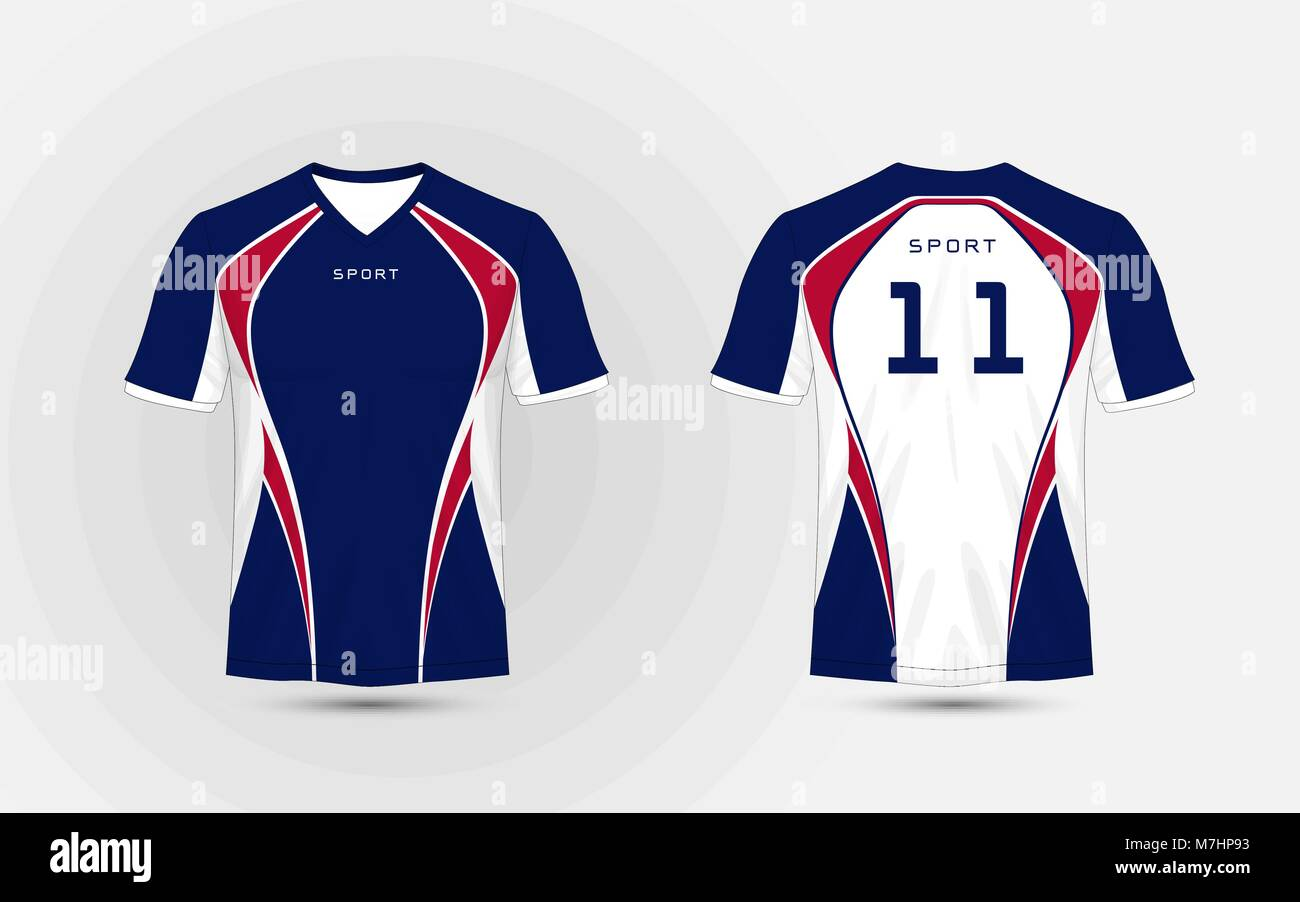 abf24383 White, Blue and red pattern sport football kits, jersey, t-shirt design  template