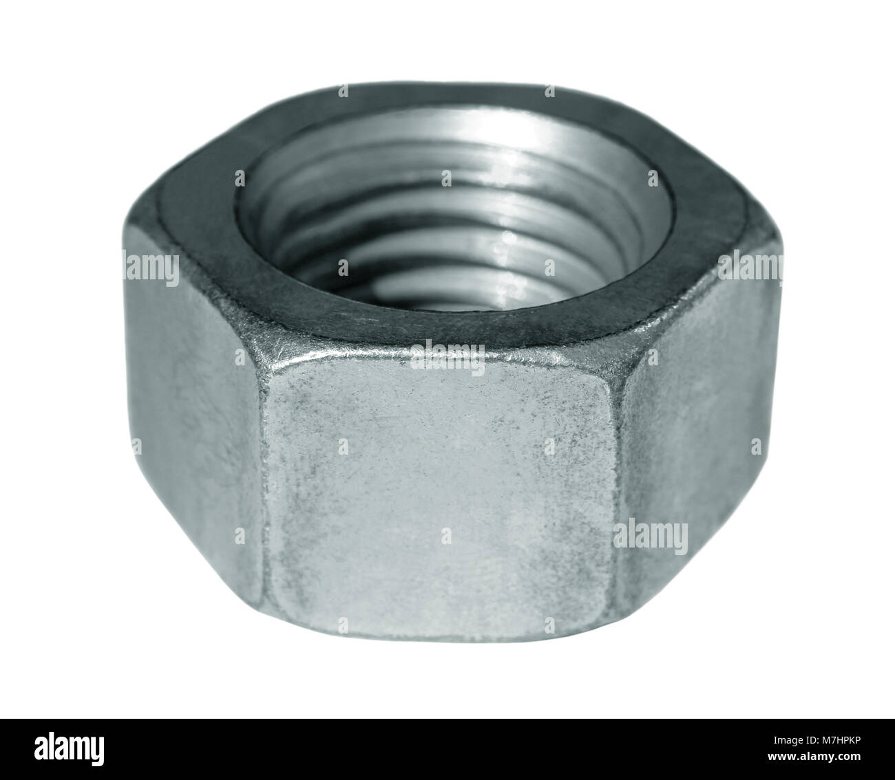 Steel nut with metric threads on a white background. - Stock Image
