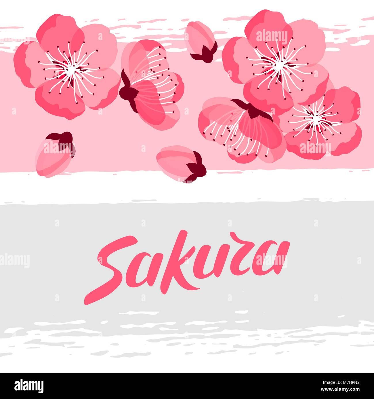 Japanese Sakura Background With Stylized Flowers Image For Holiday