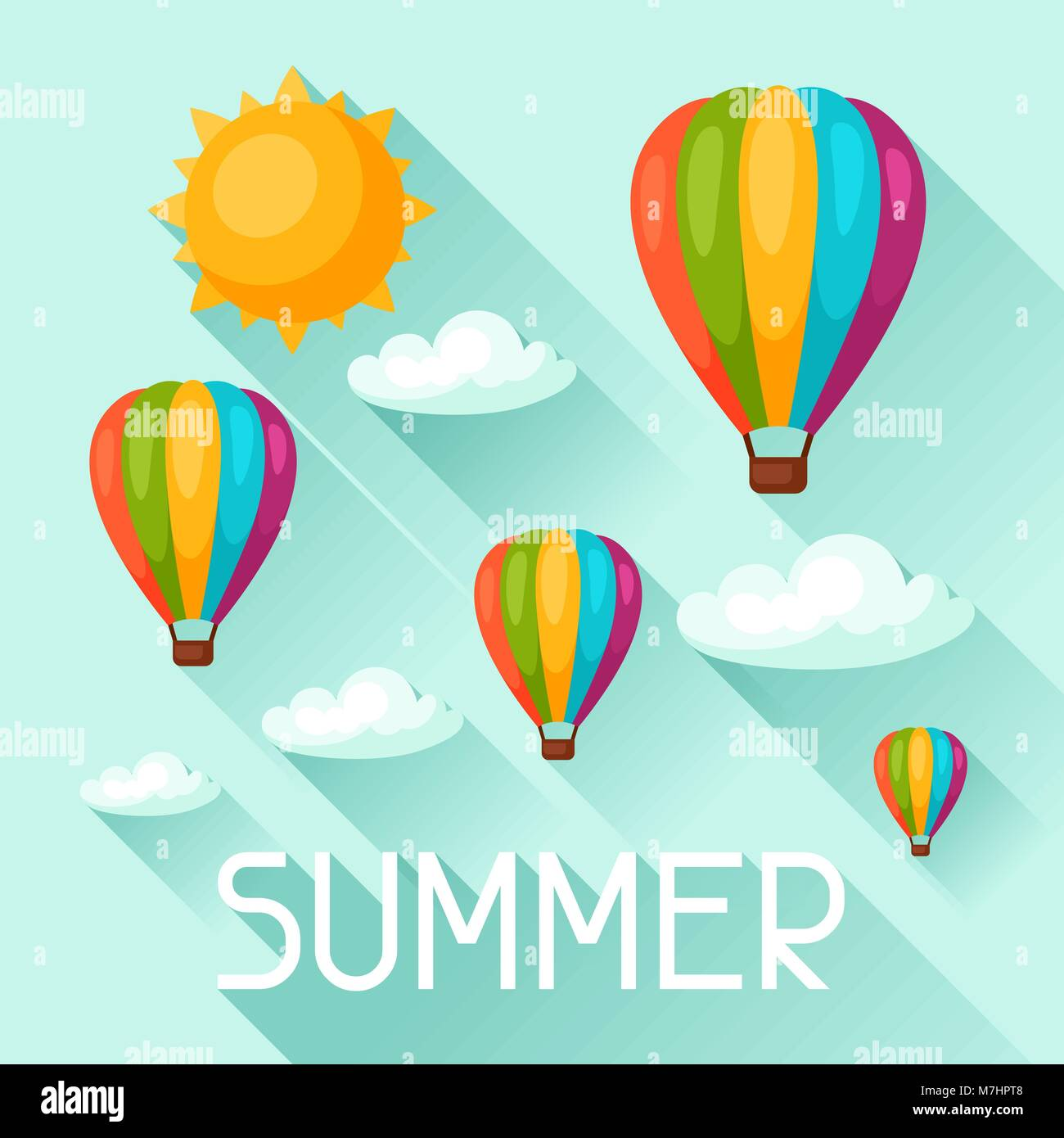 Summer background with hot air balloons. Image for advertising booklets, banners, flayers, article, social media - Stock Vector