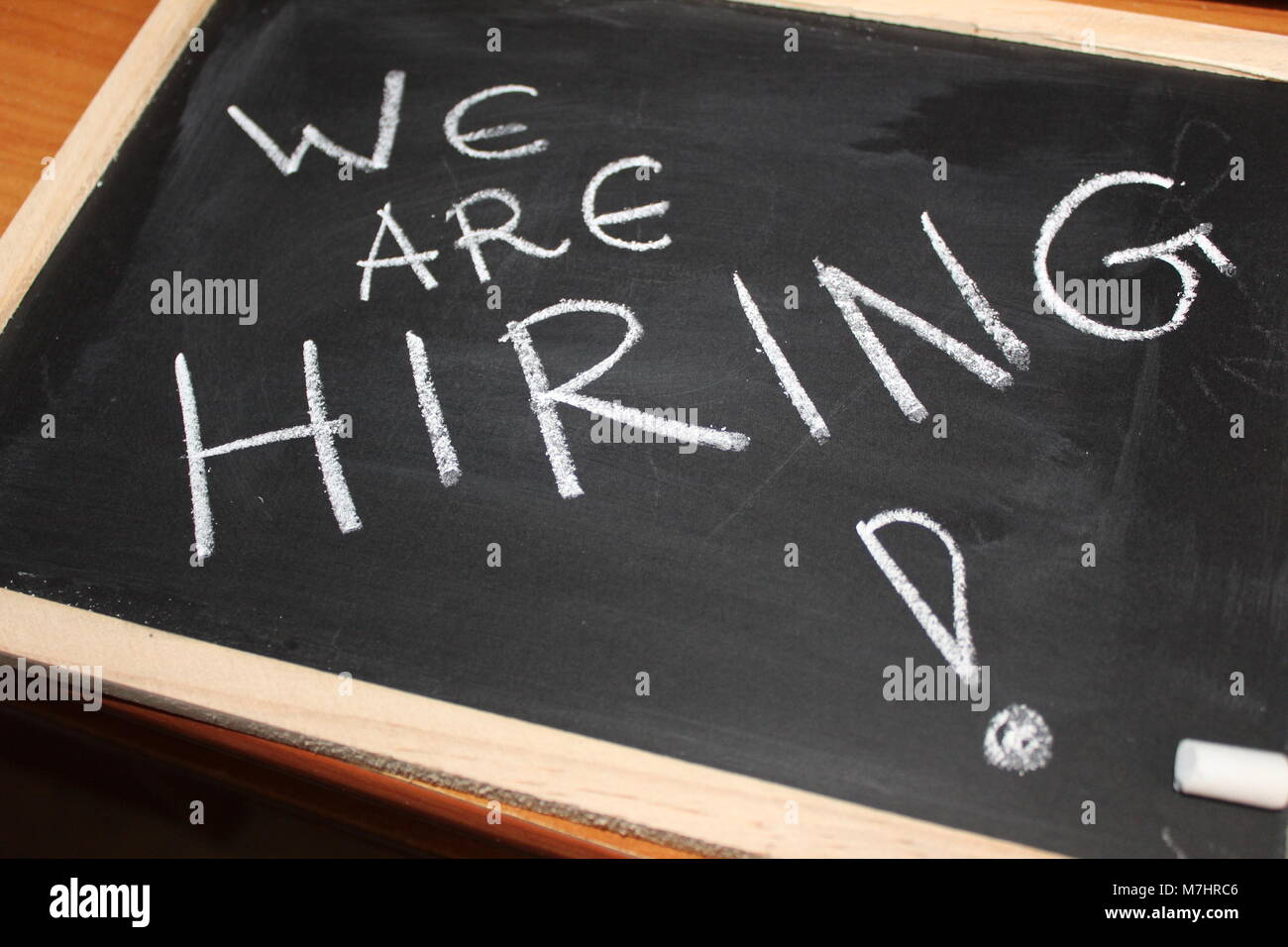 black board showing we are hiring - Stock Image
