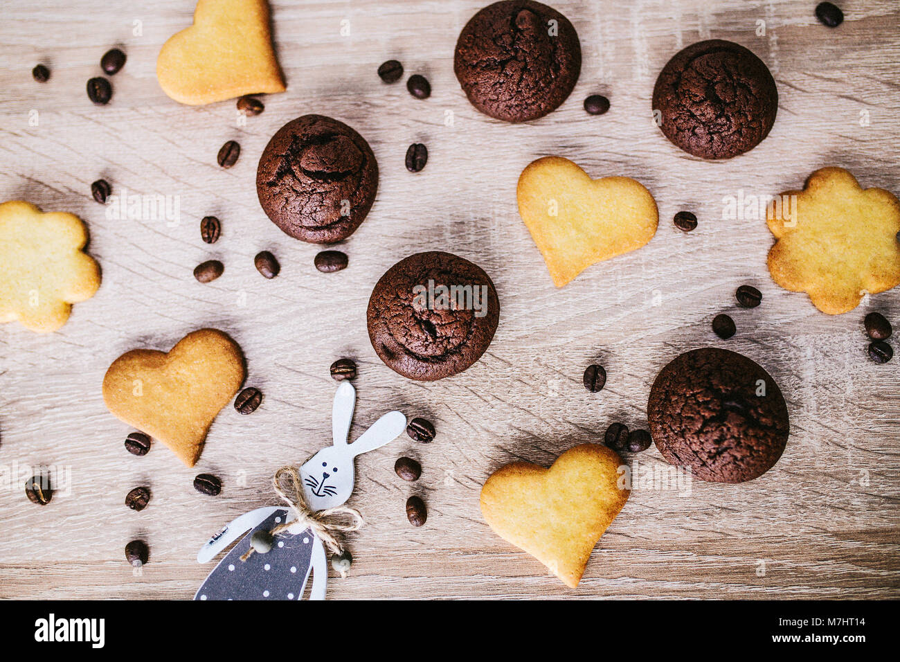 Heart-Shape Cookies On Wooden Table - Stock Image