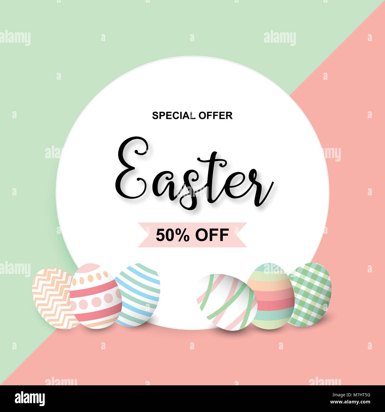 happy easter sale background template with colorful eggs happy