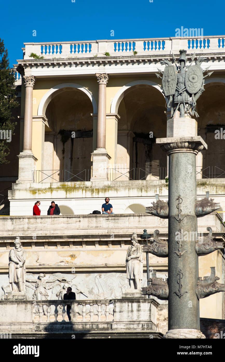 Italy, Lazio, Rome, Piazza del Popolo Square, Pincio Terrace, Fountain Goddess Roma between Tiber and Aniene River - Stock Image