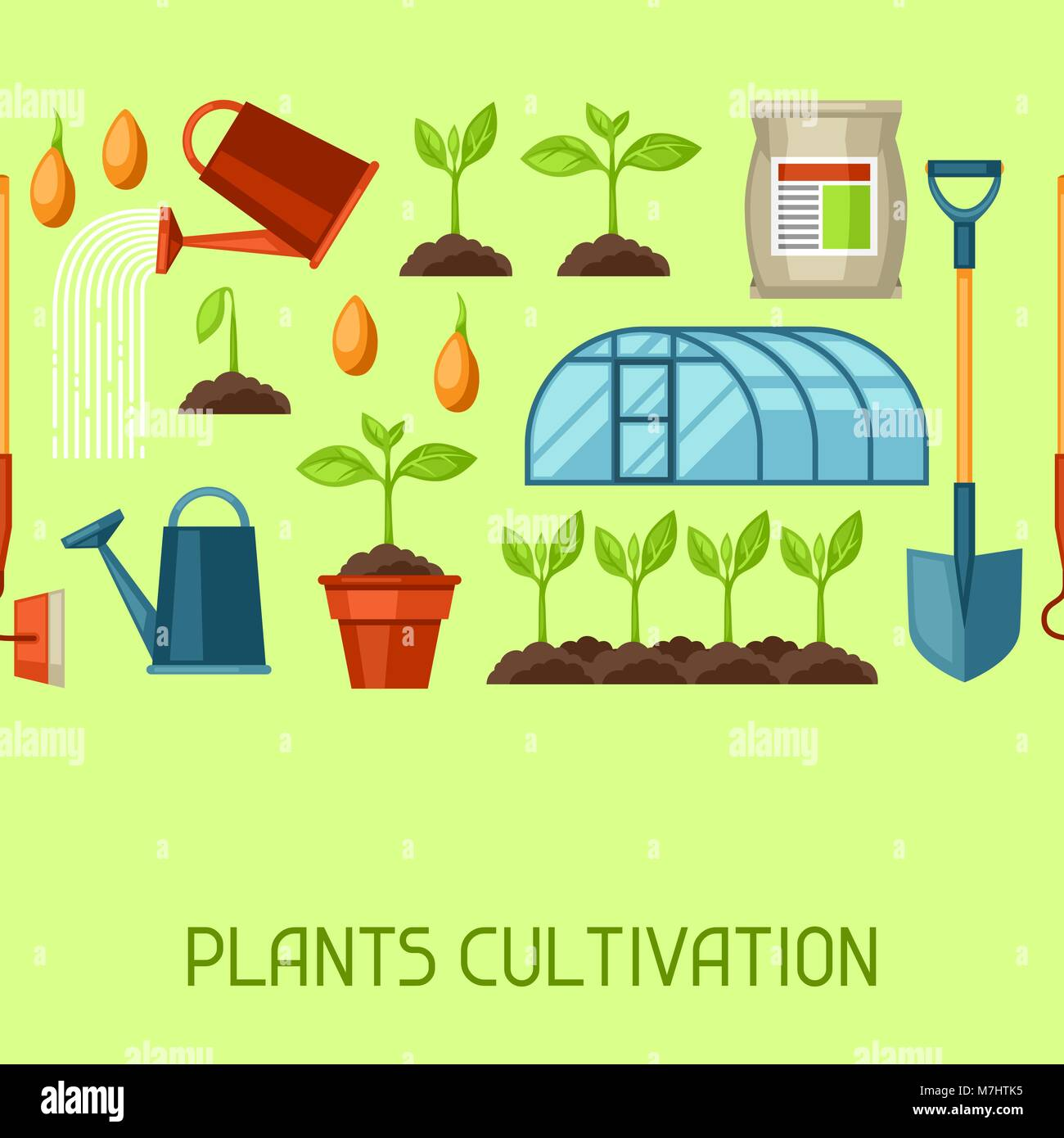 Seamless pattern with agriculture objects. Instruments for cultivation, plants seedling process, stage plant growth, - Stock Vector