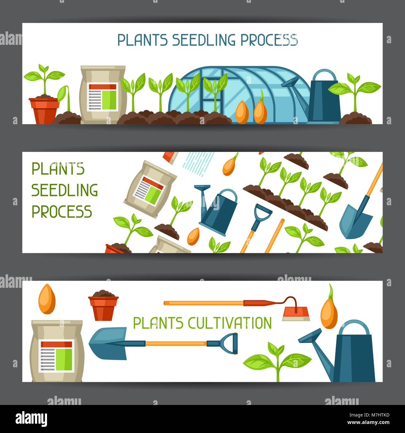 Banners with agriculture objects. Instruments for cultivation, plants seedling process, stage plant growth, fertilizers - Stock Vector