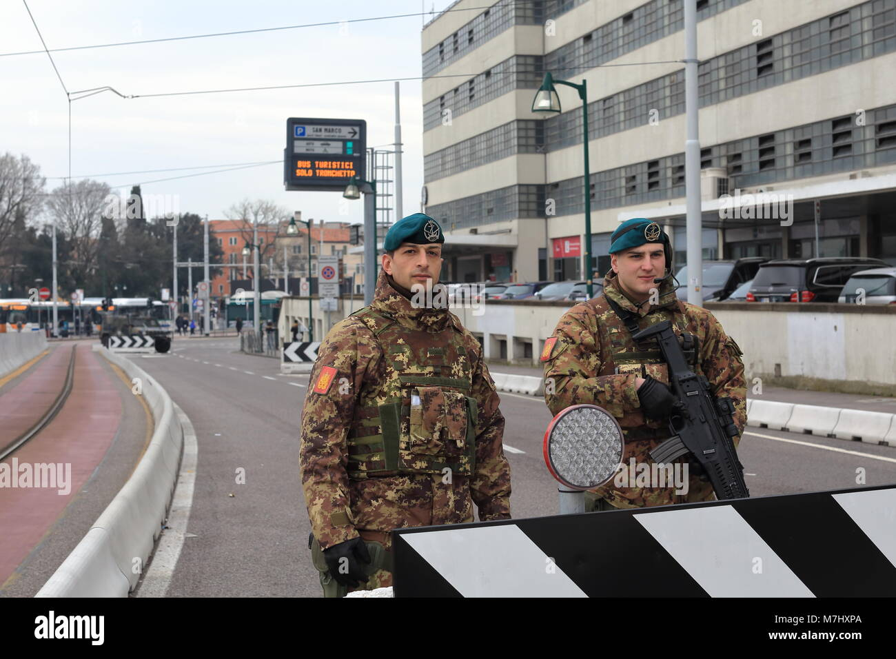 Venice, Italy. 10th, Mar 2018.  The soldiers at control barrier in Venice. In 28th August 2017, were built on the - Stock Image