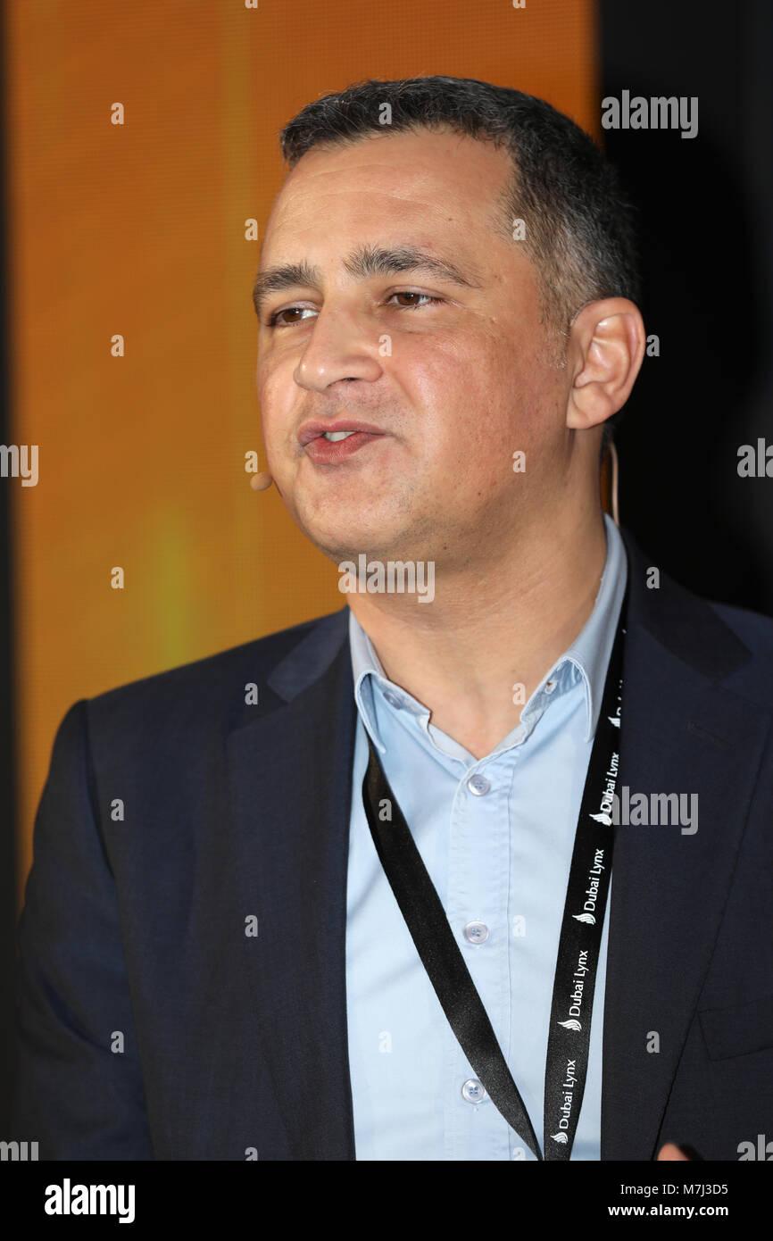 Dubai, United Arab Emirates, 11. March 2018, Hakan Kaplan, CEO, Dogus Marketing Services, speaker at Dubai Lynx - Stock Image