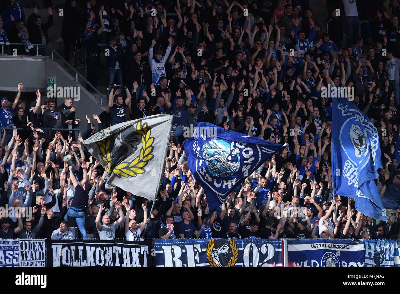 Erfurt, Deutschland. 11th Mar, 2018. KSC Fans. GES/ Fussball/ 3. Liga: RW Erfurt - Karlsruher SC, 11.03.2018 Football/Soccer: - Stock Image