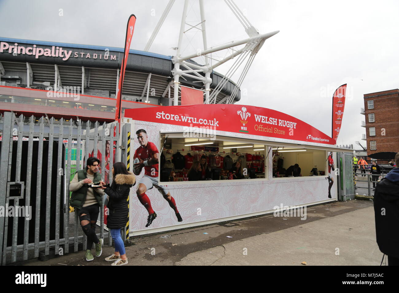 I went out today to take photos of 6 Nations Rugby Wales vs Italy at Principality Stadium Cardiff. - Stock Image