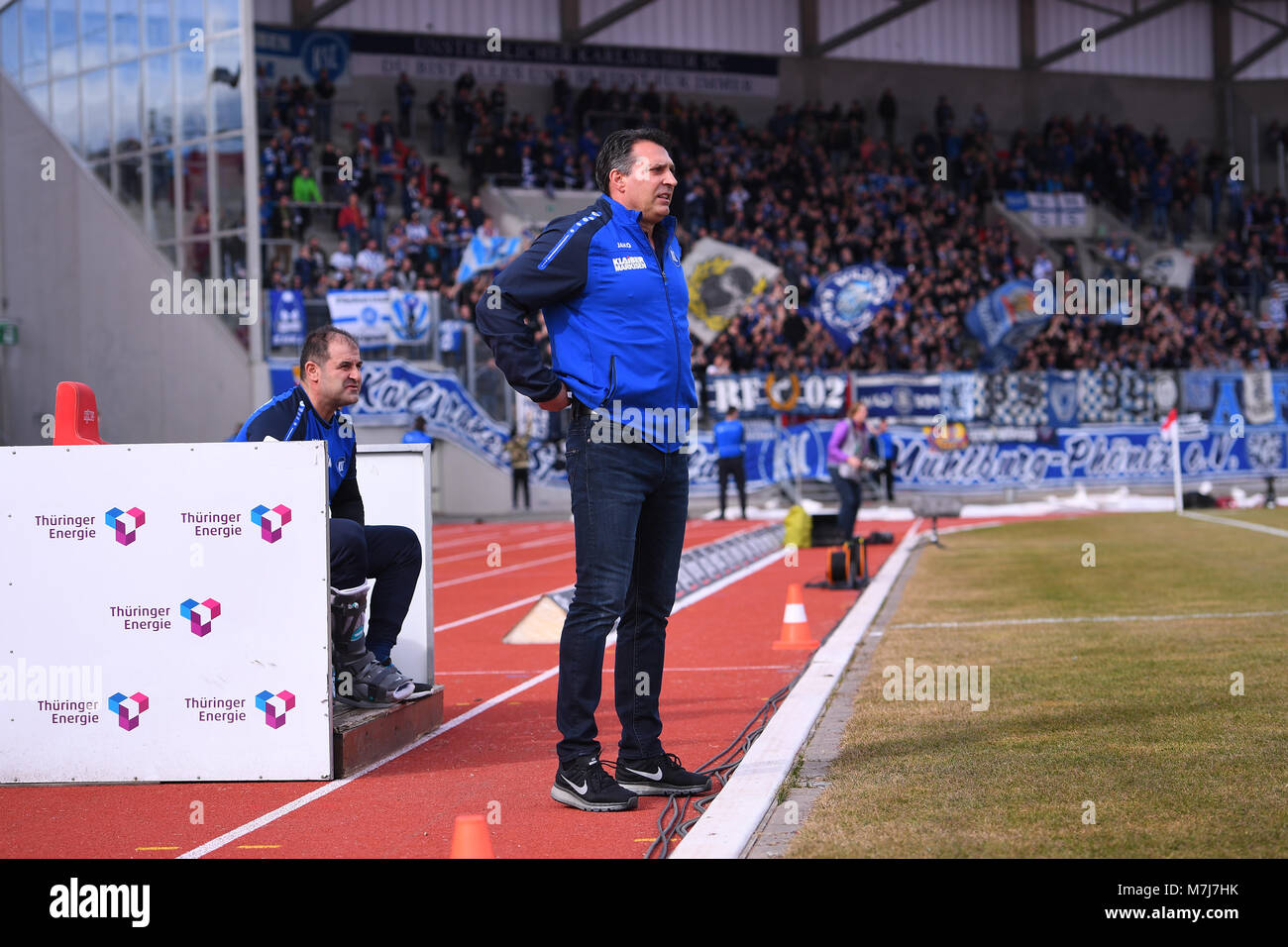 coach Alois Schwartz (KSC).  GES/ Fussball/ 3. Liga: RW Erfurt - Karlsruher SC, 11.03.2018  Football / Soccer: 3rd - Stock Image