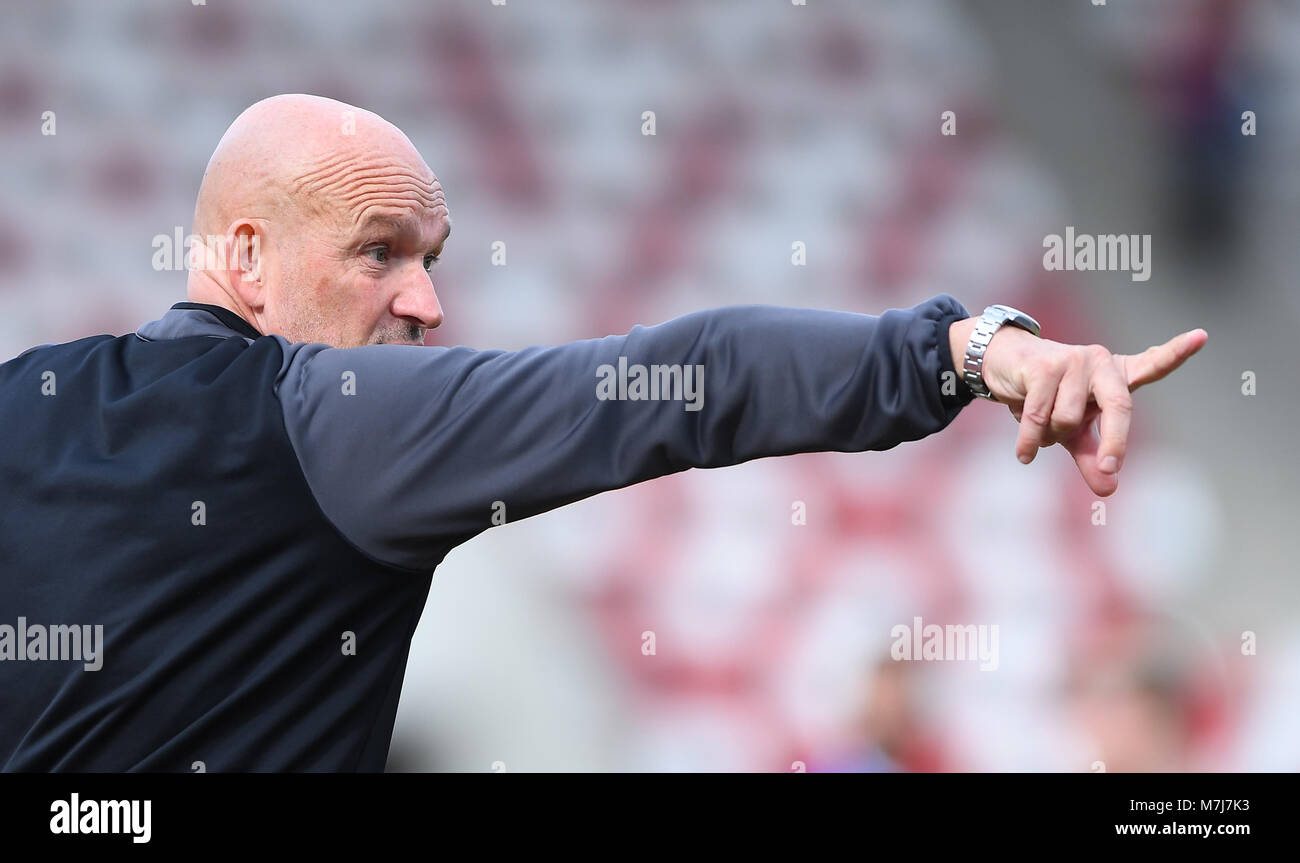 Erfurt, Deutschland. 11th Mar, 2018. coach Stefan Emmerling (RWE) GES/ Fussball/ 3. Liga: RW Erfurt - Karlsruher - Stock Image