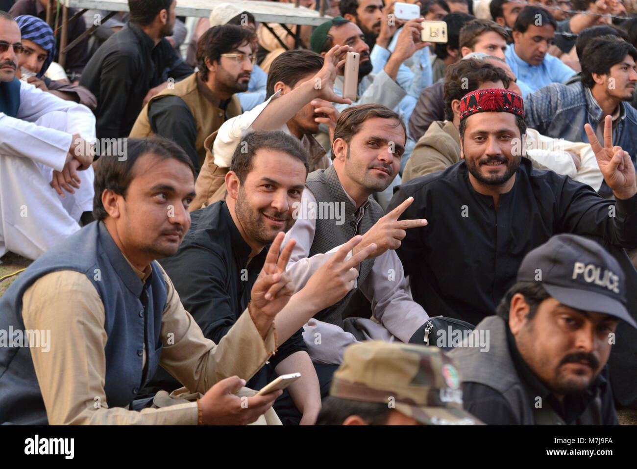 QUETTA, PAKISTAN  March 11-2018: people taking a victory in