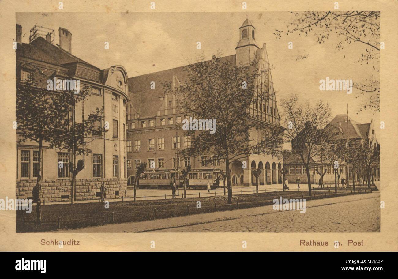 Schkeuditz, Sachsen - Postamt und Rathaus; Ratskeller Schkeuditz (Zeno Ansichtskarten) Stock Photo