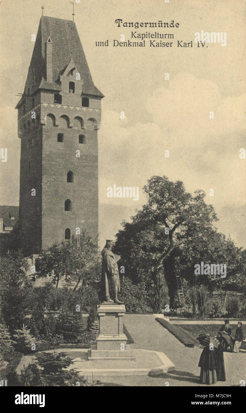 Tangermünde, Sachsen-Anhalt - Kapitelturm und Denkmal Kaiser Karl IV. (Zeno Ansichtskarten) Stock Photo