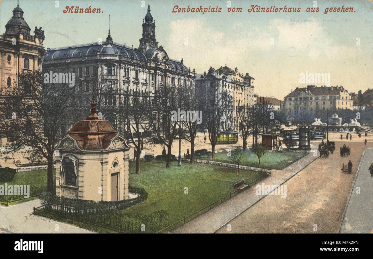 München, Bayern - Lenbachplatz vom Künstlerhaus aus (Zeno Ansichtskarten) - Stock Image
