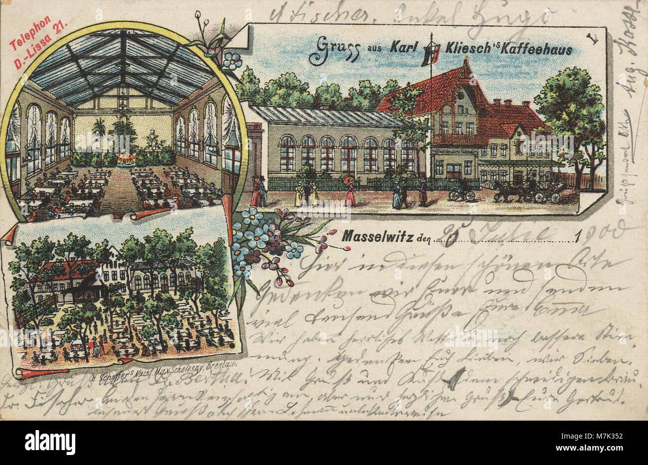 Masselwitz, Pommern - Karl Klieschs Caféhaus (Zeno Ansichtskarten) Stock Photo