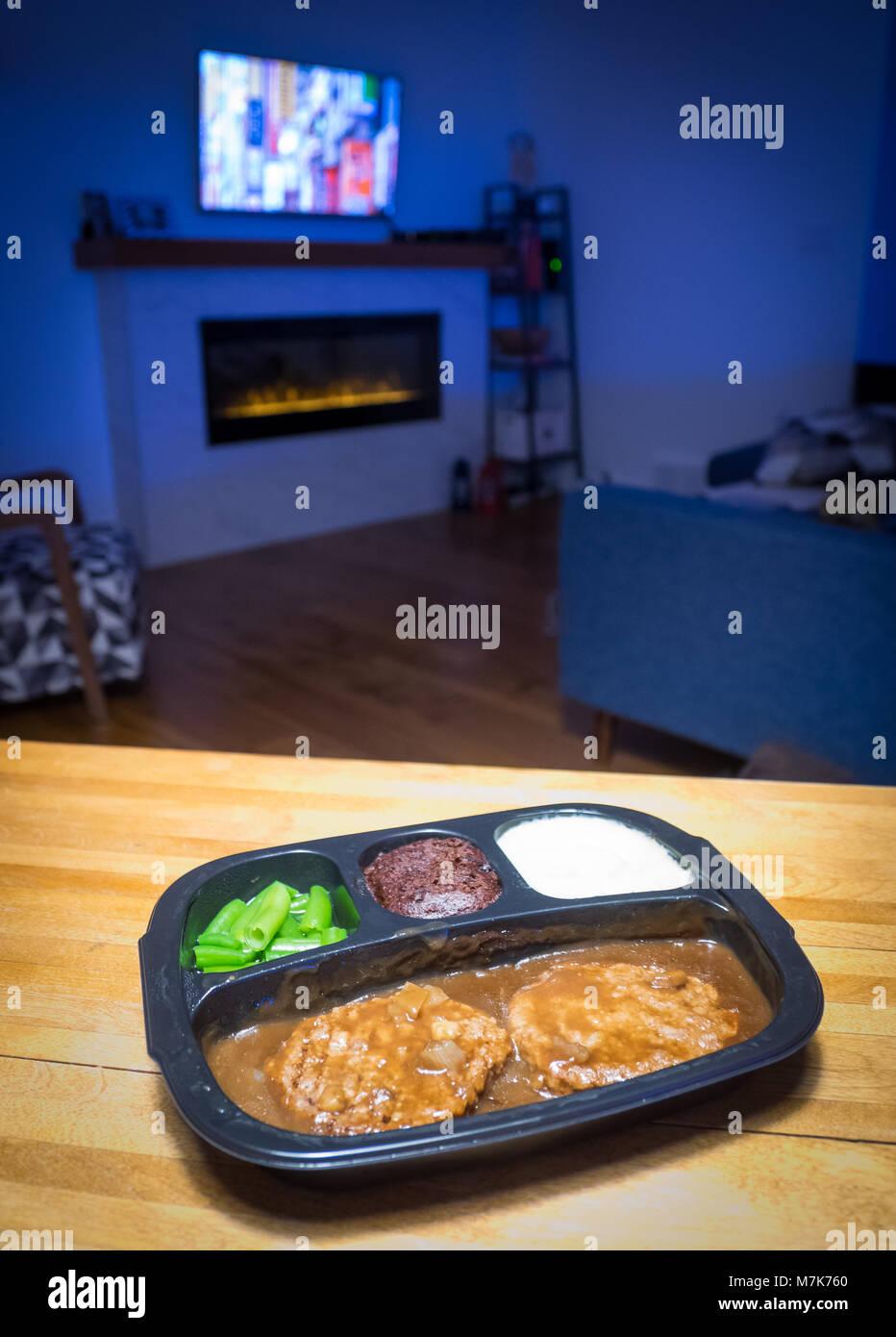 A Swanson Hungry-Man salisbury steak TV dinner (frozen dinner). - Stock Image