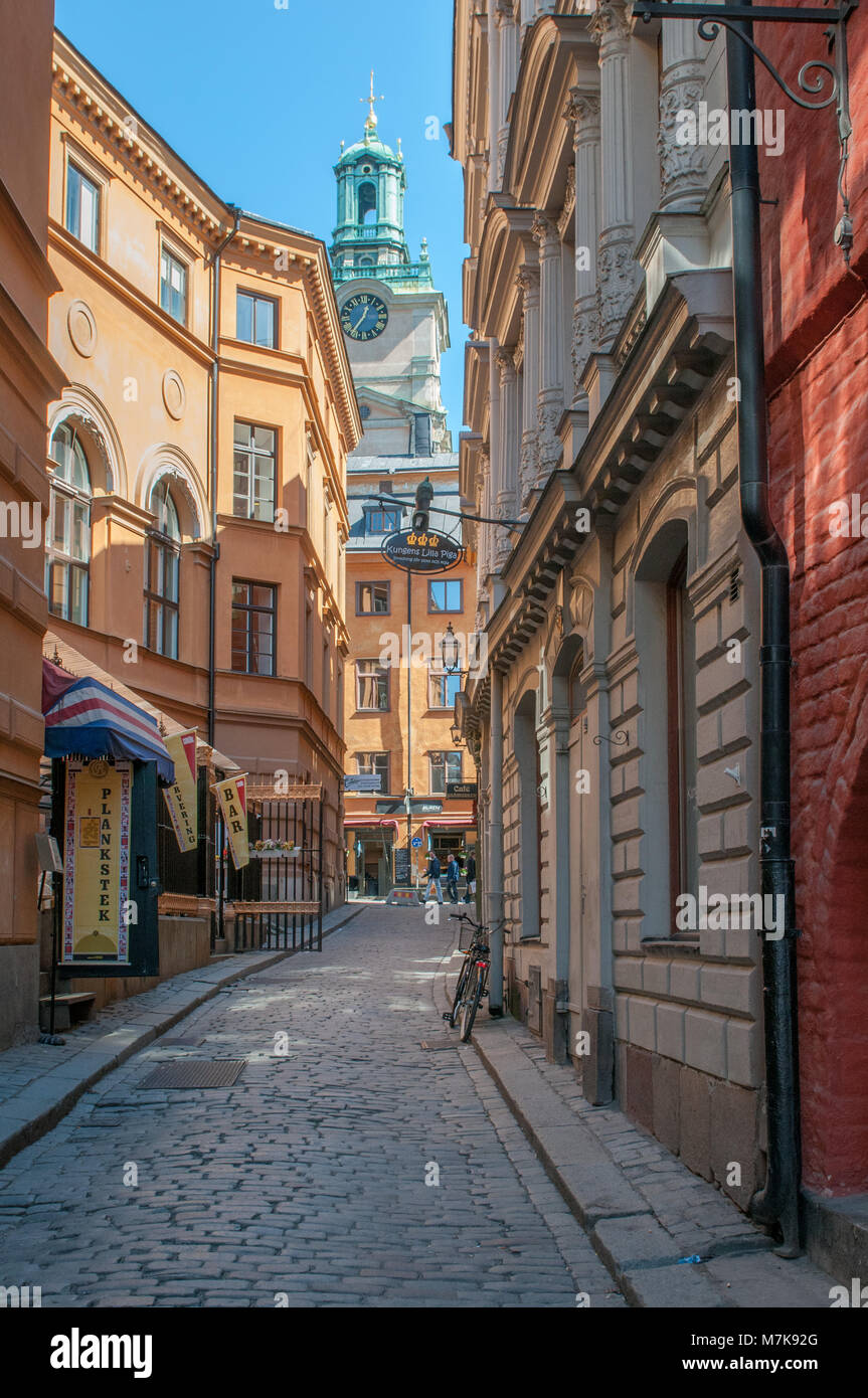 The Old Town of Stockholm. The historic medieval Old Town is a major tourist attraction in Stockholm. - Stock Image
