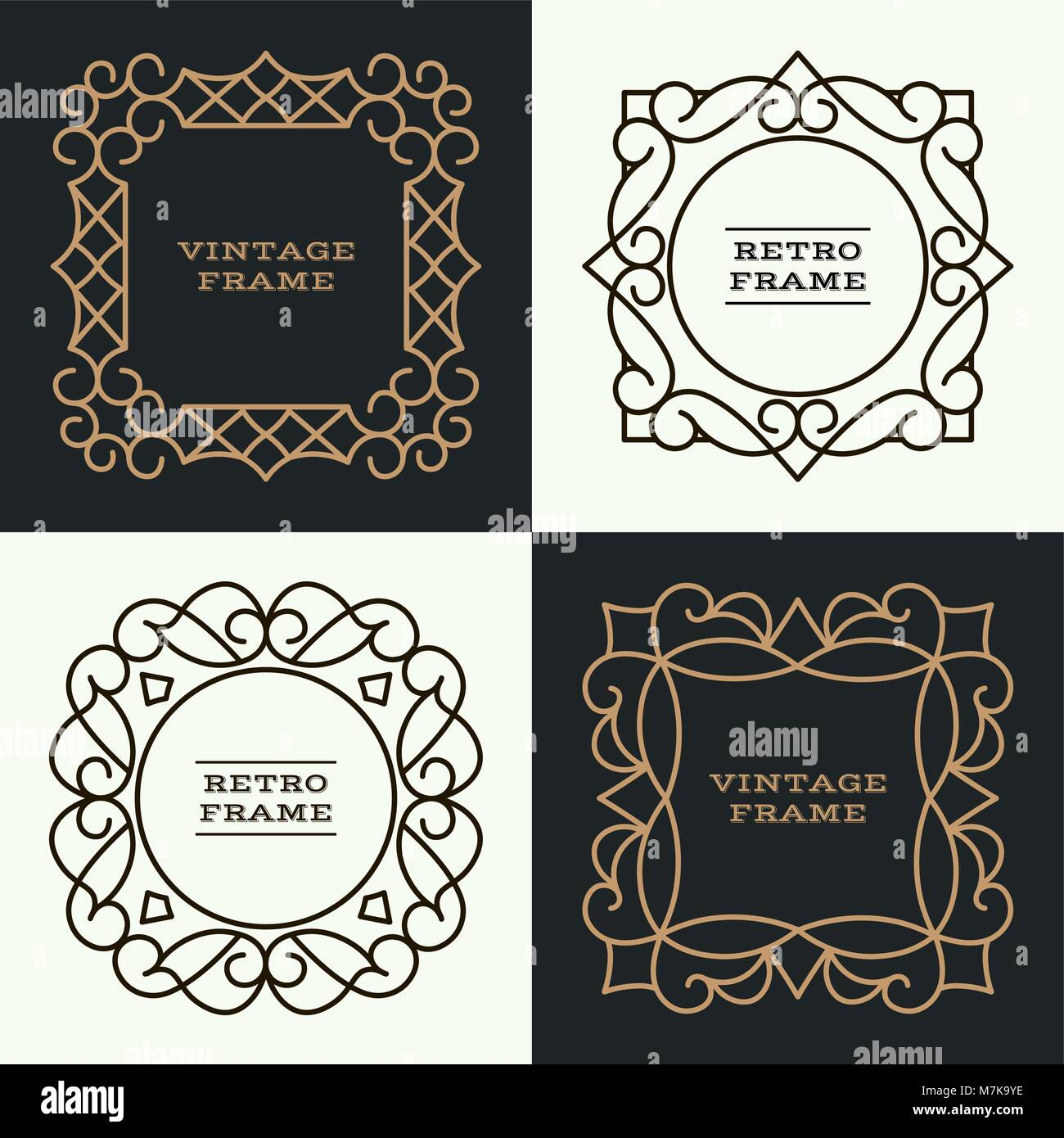 Set of monogram line vintage frames greeting cards wedding stock set of monogram line vintage frames greeting cards wedding invitations retro style vector logo template labels and badges stopboris Image collections