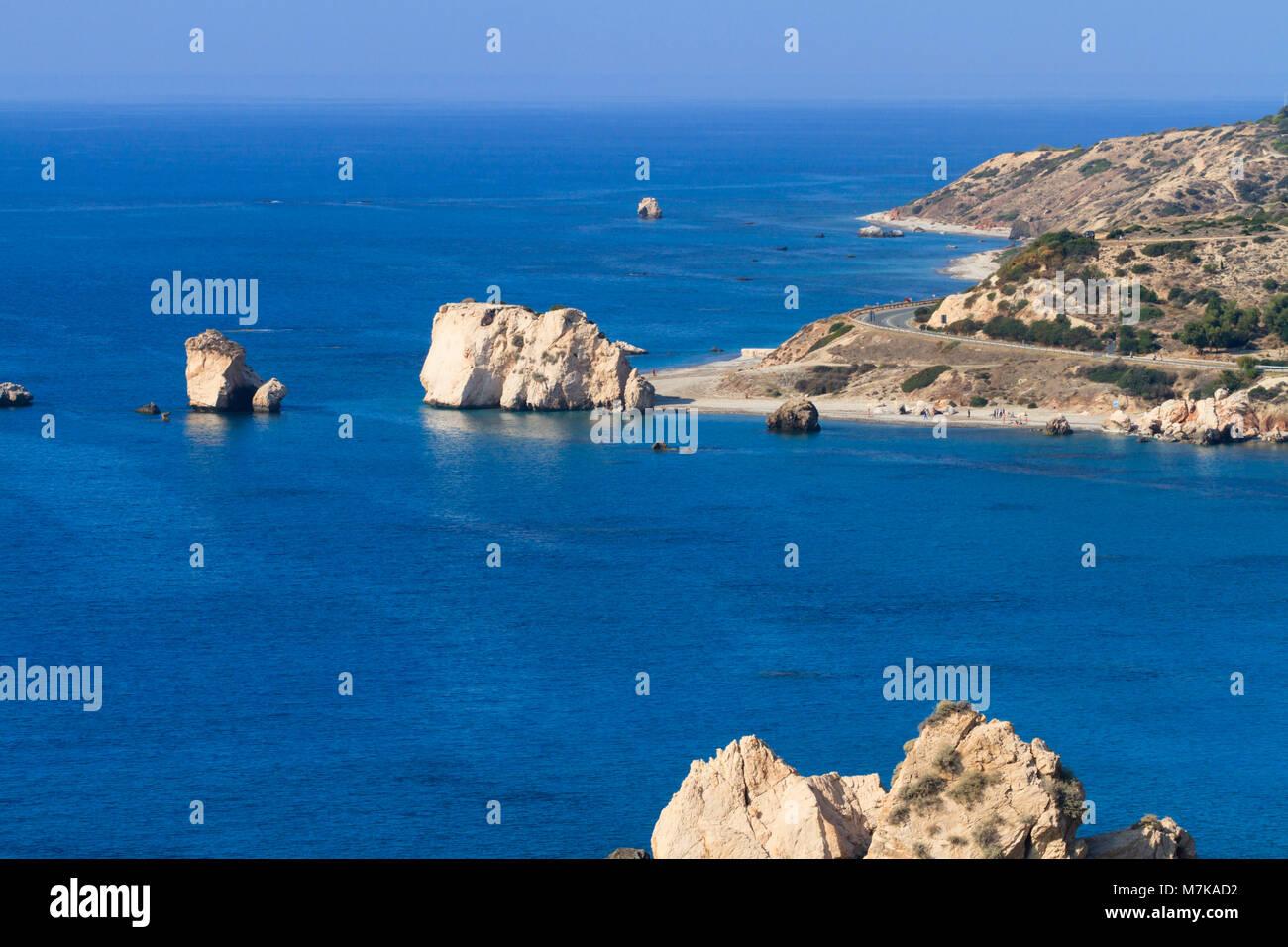 Aphrodite's Rock, Petra tou Romiou, near Paphos, Cyprus - Stock Image