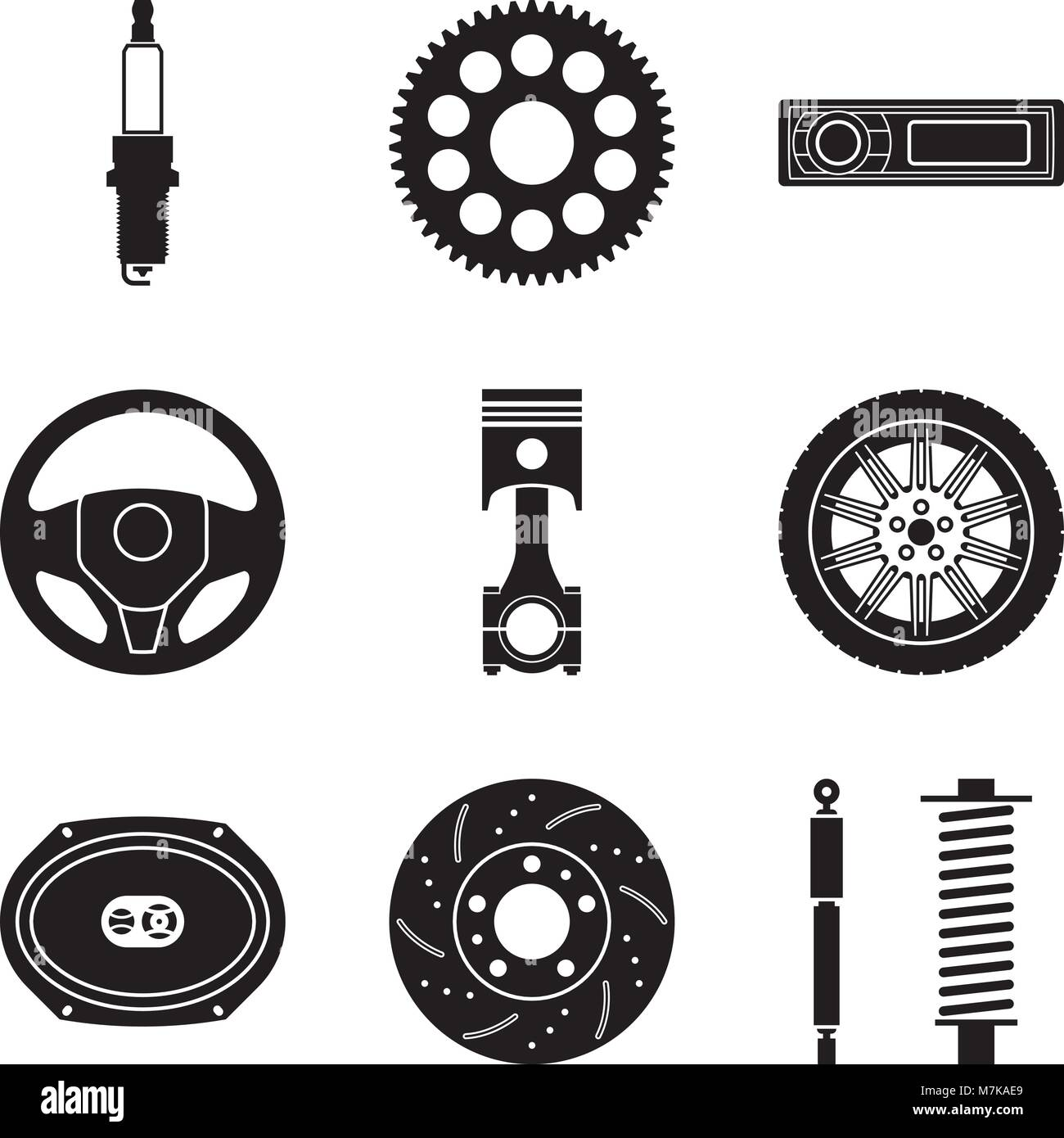 Car Parts Icon Set For Maintenance Service Vector Illustration Stock Vector Image Art Alamy