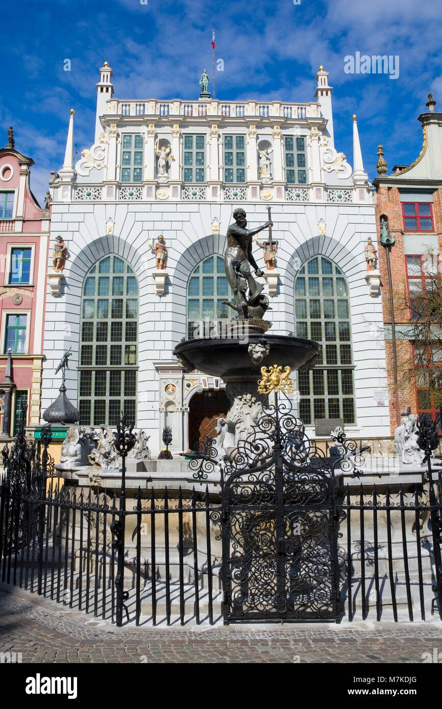 Neptune Fountain - symbol of Gdansk, located at Long Market against Artus Court, Poland Stock Photo