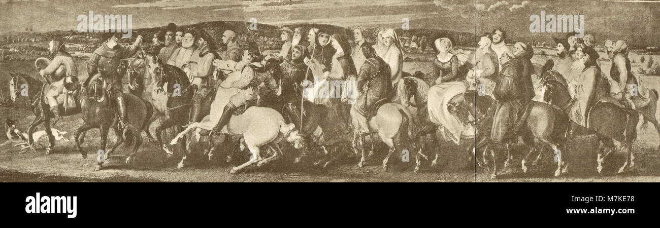 illustration of the Canterbury Tales, The Pilgrimage to Canterbury, Pilgrims on their way to the shrine of Saint - Stock Image