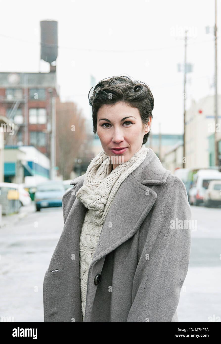 A portrait of a woman in Portland, Oregon. - Stock Image