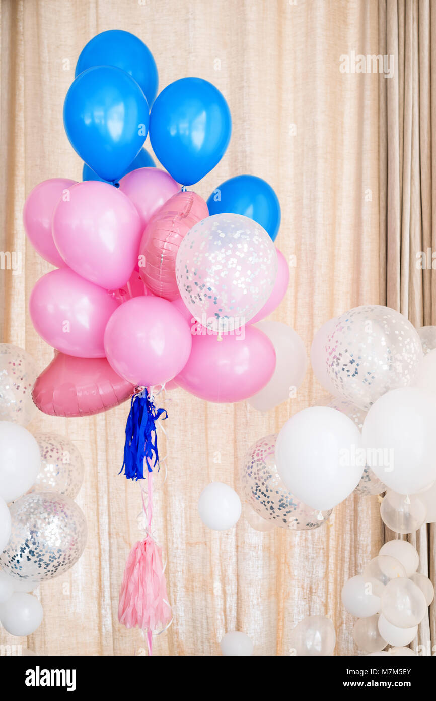 Pink blue and white inflatable balloons Decorations for birthday