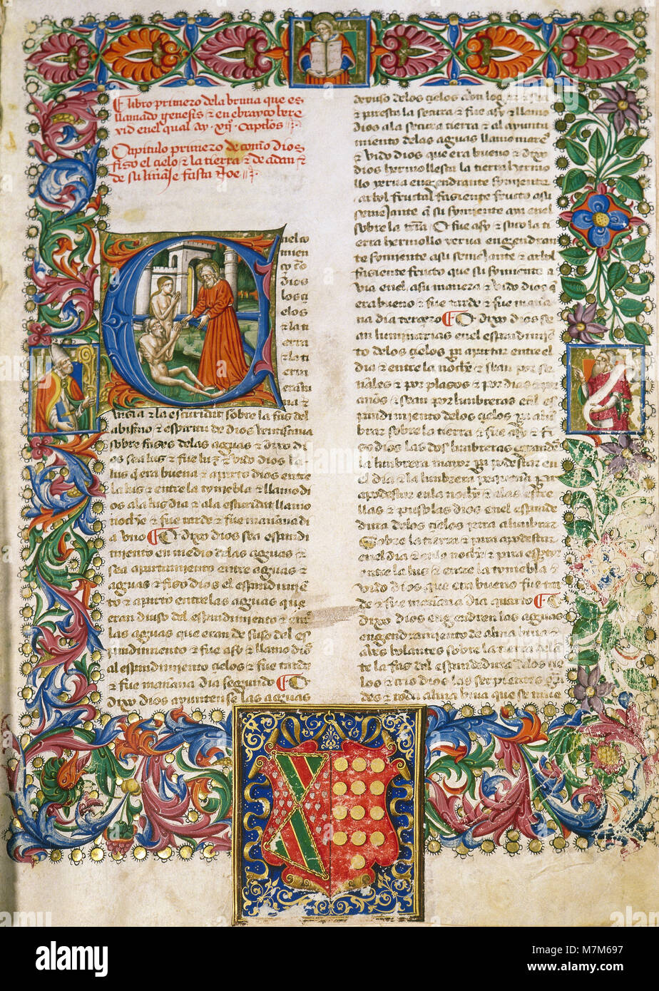 Bible translated into Spanish, 15th century. Illuminated page from the first chapter of the First Book (The Book - Stock Image