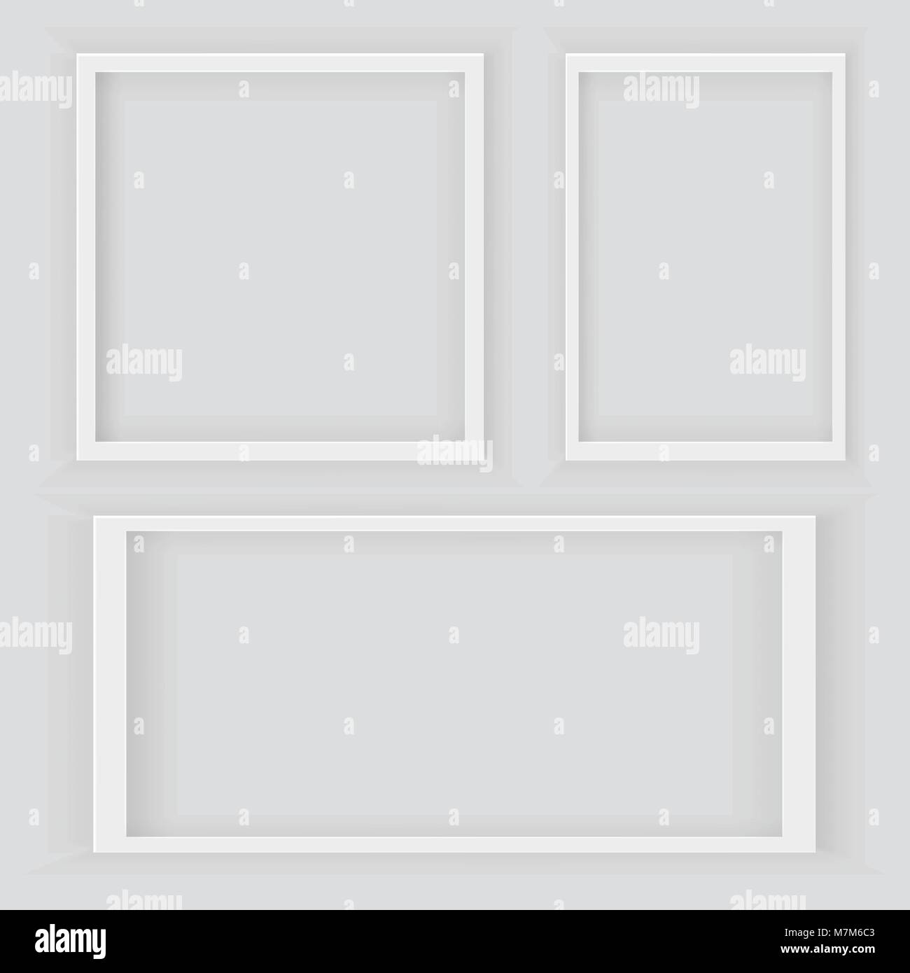 realistic 3d square and rectangular white blank picture frame stock